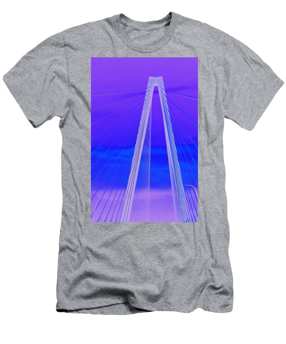 Bridge Men's T-Shirt (Athletic Fit) featuring the photograph Arthur Ravenel Jr Bridge Iv by DigiArt Diaries by Vicky B Fuller