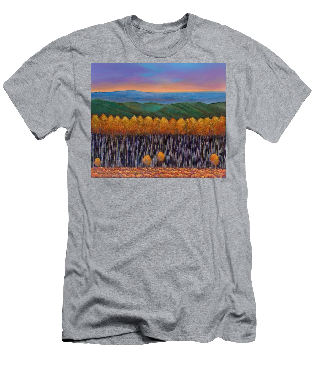 Autumn Aspen T-Shirt featuring the painting Aspen Perspective by Johnathan Harris