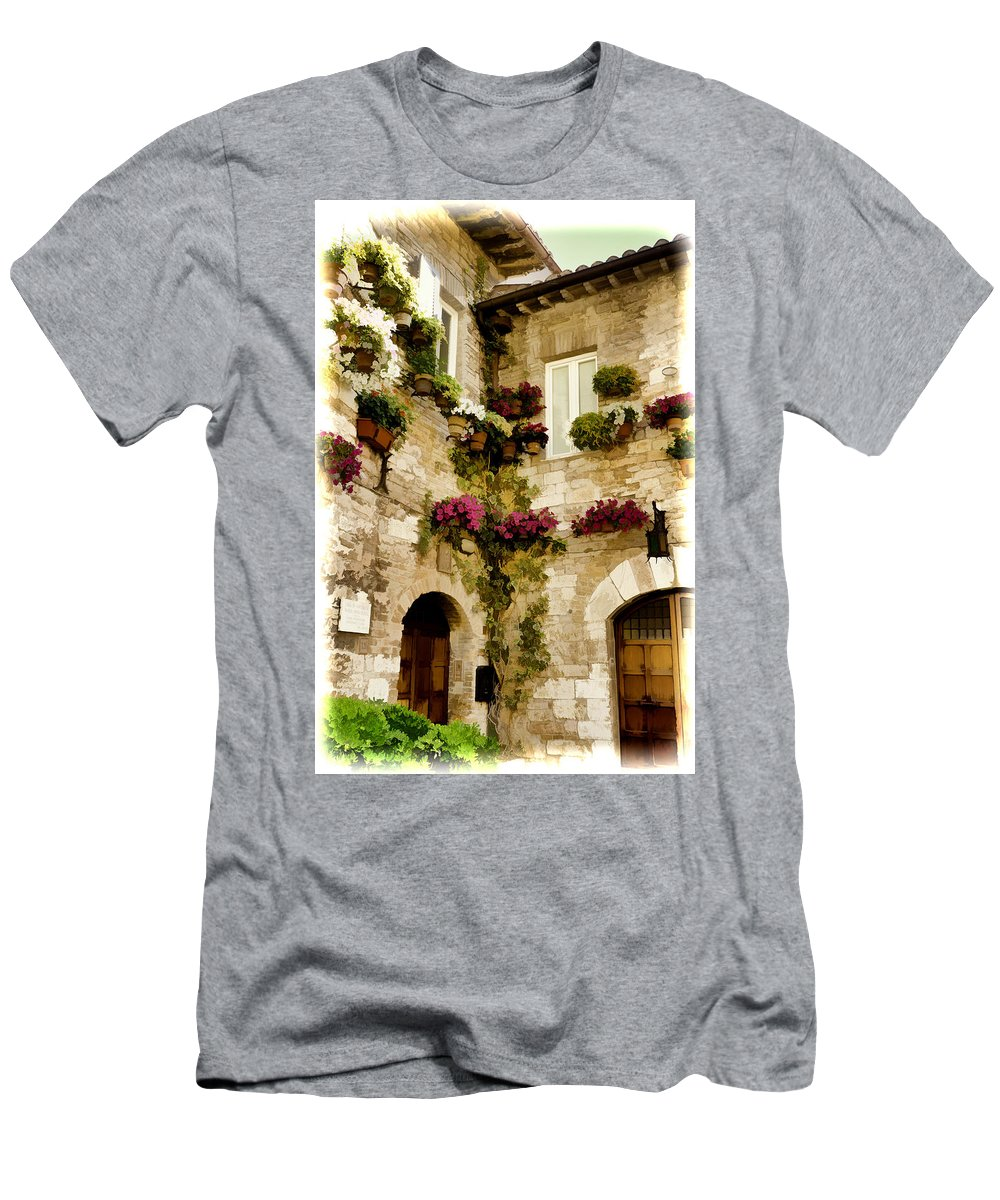 Italy Men's T-Shirt (Athletic Fit) featuring the photograph Assisi Courtyard by Jon Berghoff