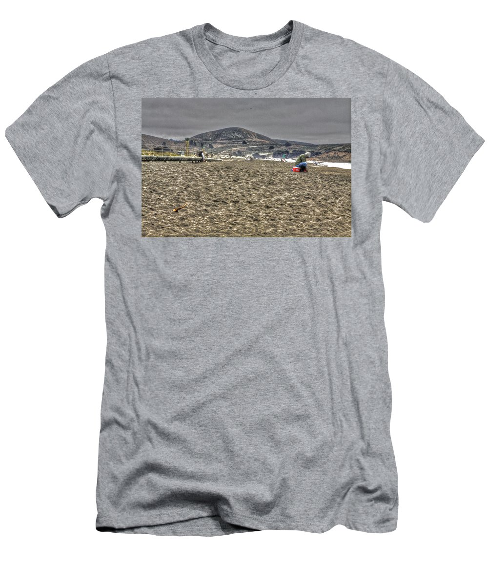 Beach Men's T-Shirt (Athletic Fit) featuring the photograph At The Beach At Pacifica by SC Heffner
