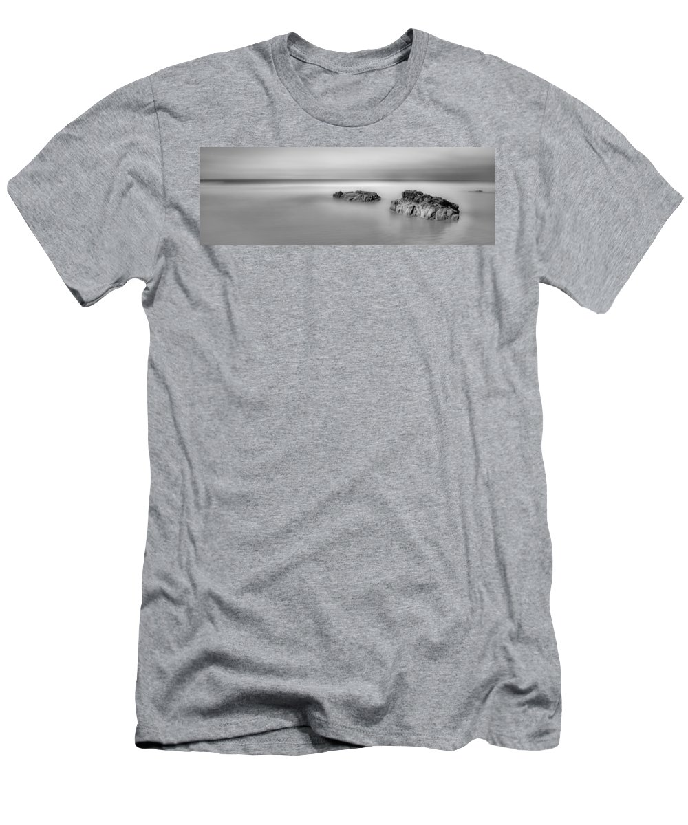 Atlantic Men's T-Shirt (Athletic Fit) featuring the photograph Little Rocks Off Downhill by Nigel R Bell