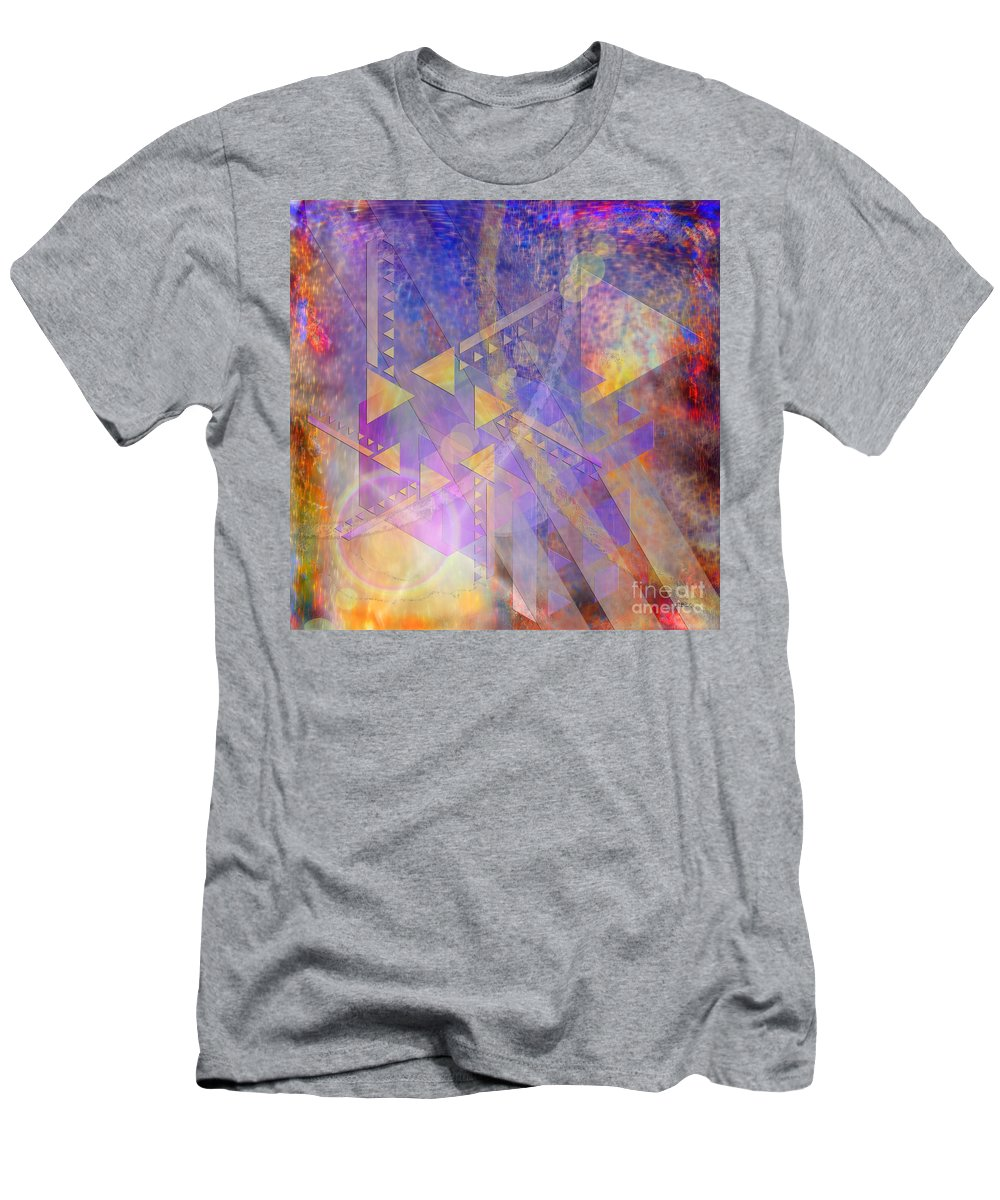 Frank Lloyd Wright Men's T-Shirt (Athletic Fit) featuring the digital art Aurora Aperture - Square Version by John Beck