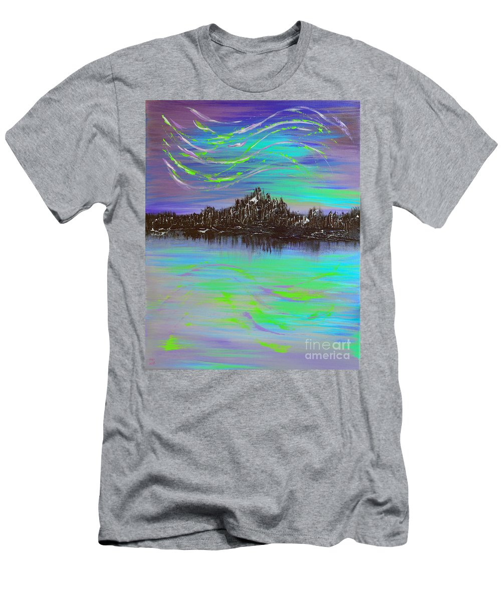 Aurora Borealis Men's T-Shirt (Athletic Fit) featuring the painting Aurora Borealis by Alys Caviness-Gober