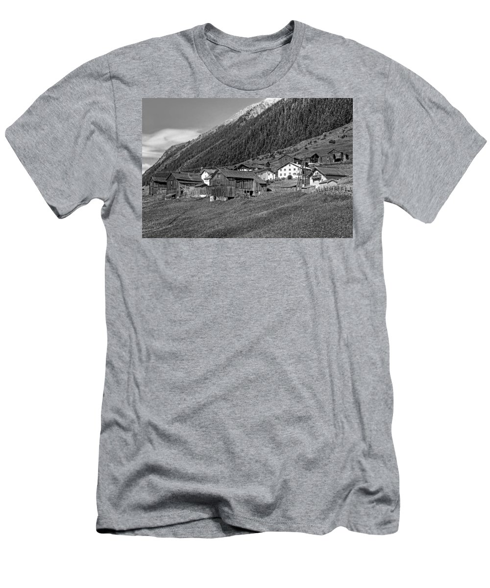 Austria Men's T-Shirt (Athletic Fit) featuring the photograph Austrian Village Monochrome by Steve Harrington
