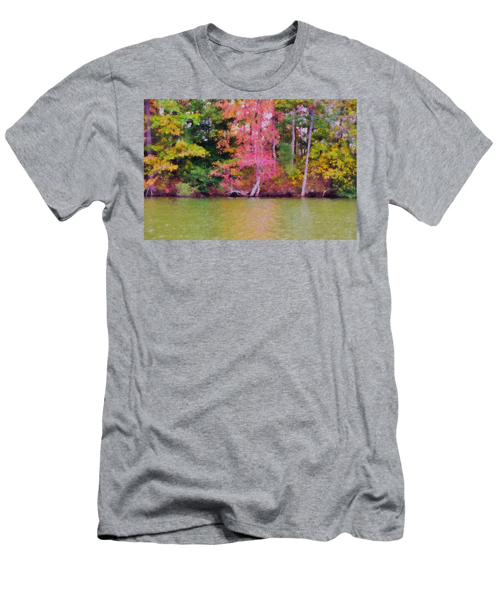 Background Men's T-Shirt (Athletic Fit) featuring the painting Autumn Color In Norfolk Botanical Garden 1 by Jeelan Clark