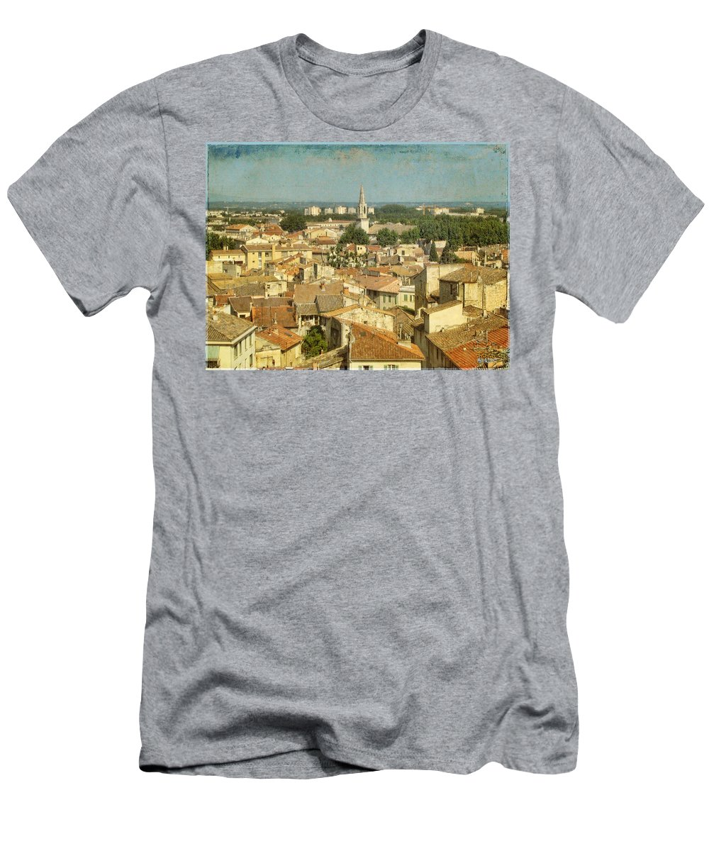 Wright Men's T-Shirt (Athletic Fit) featuring the photograph Avignon From Les Roches by Paulette B Wright