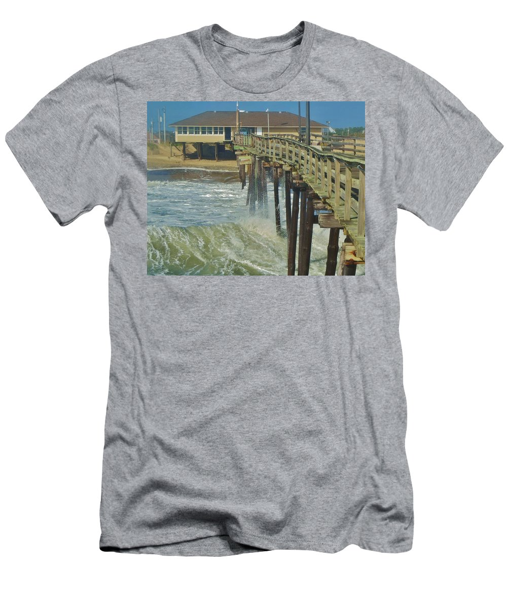 Mark Lemmon Cape Hatteras Nc The Outer Banks Photographer Subjects From Sunrise Men's T-Shirt (Athletic Fit) featuring the photograph Avon Pier 6 10/10 by Mark Lemmon