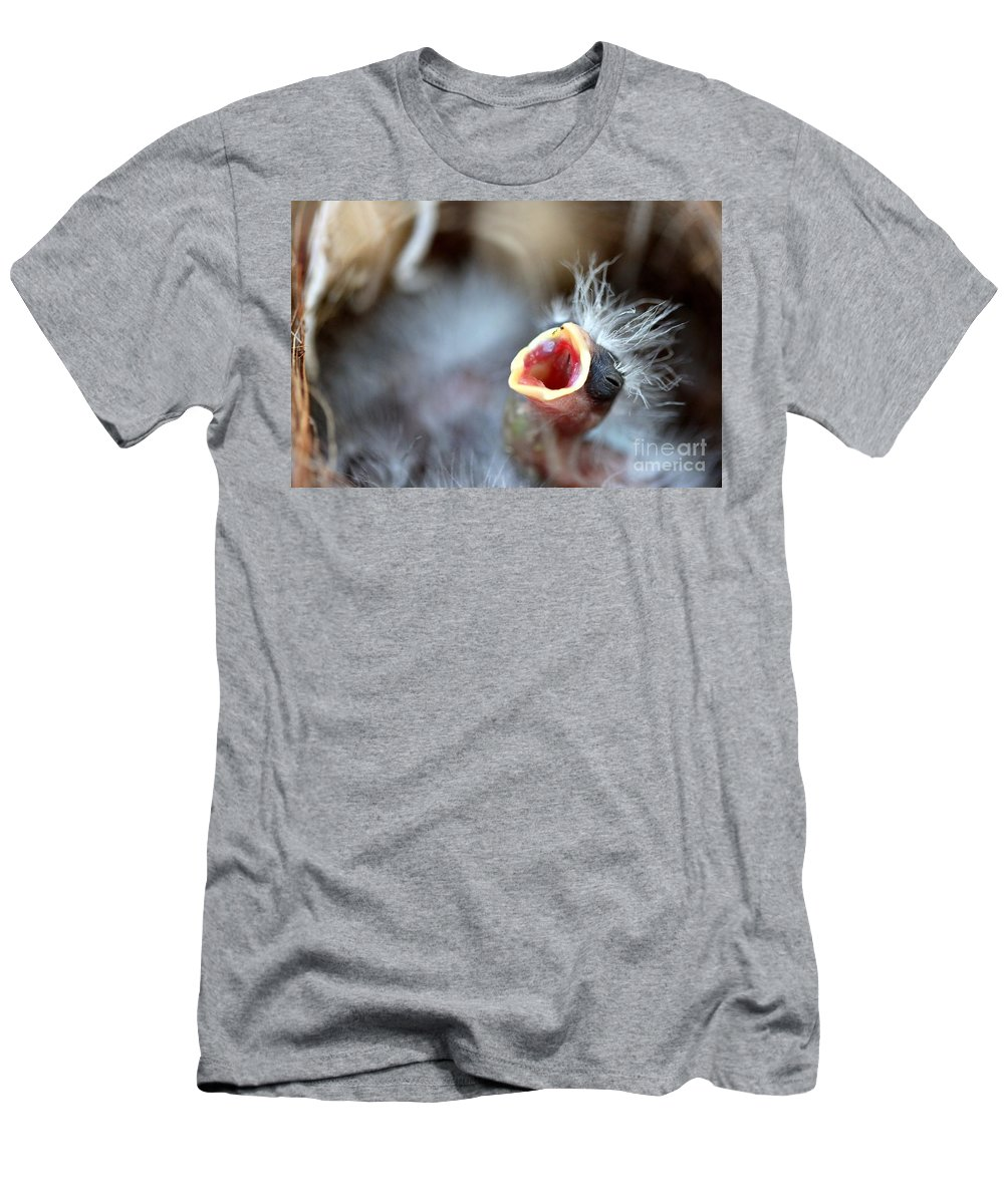 Hungry Men's T-Shirt (Athletic Fit) featuring the photograph Baby Bird by Henrik Lehnerer