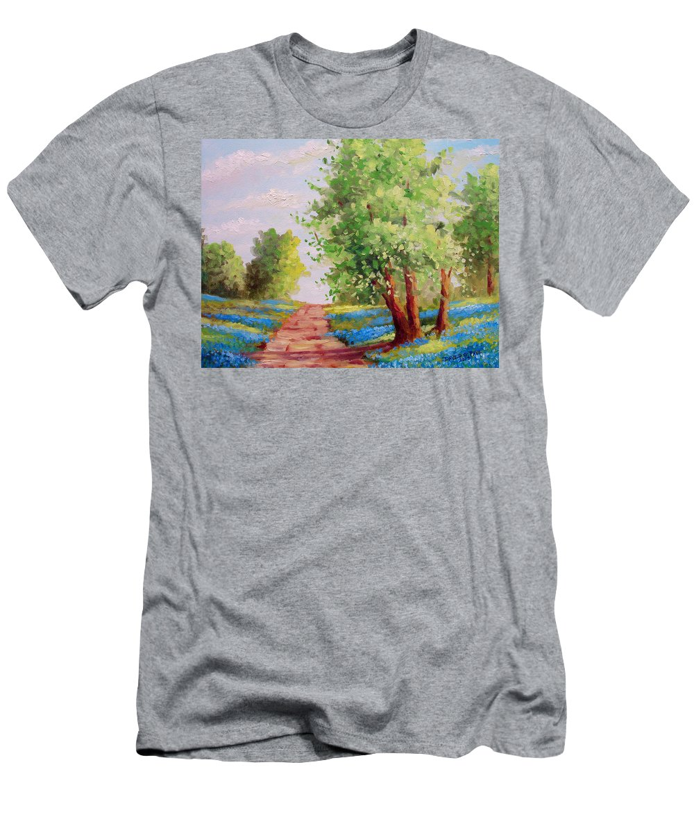 Bluebonnets Men's T-Shirt (Athletic Fit) featuring the painting Backroad Bluebonnets by David G Paul