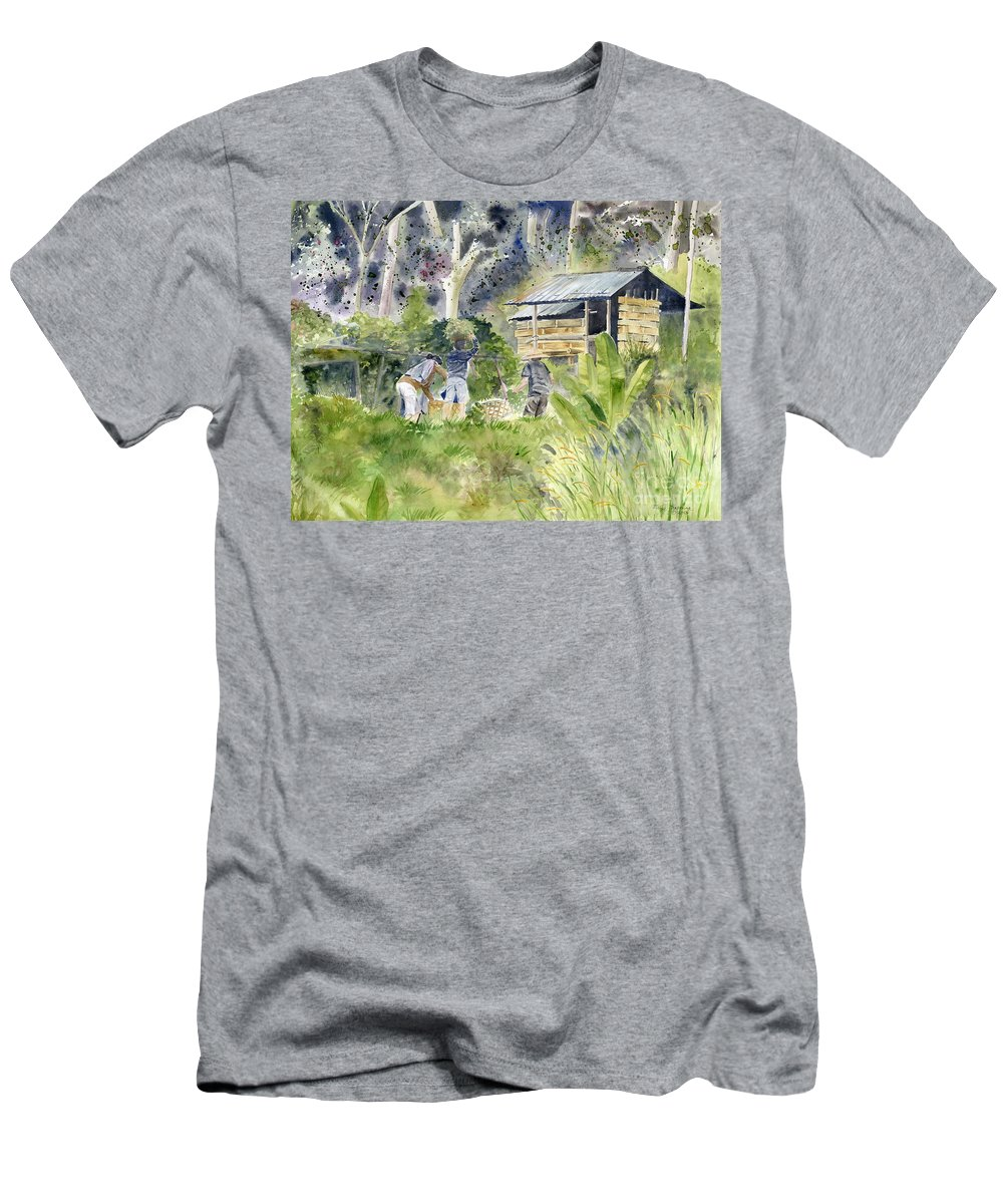 Bali Men's T-Shirt (Athletic Fit) featuring the painting Bali Farmer by Melly Terpening