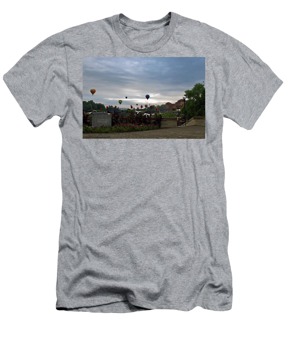 Lewiston Maine Men's T-Shirt (Athletic Fit) featuring the photograph Balloons Over Lewiston by Catherine Melvin