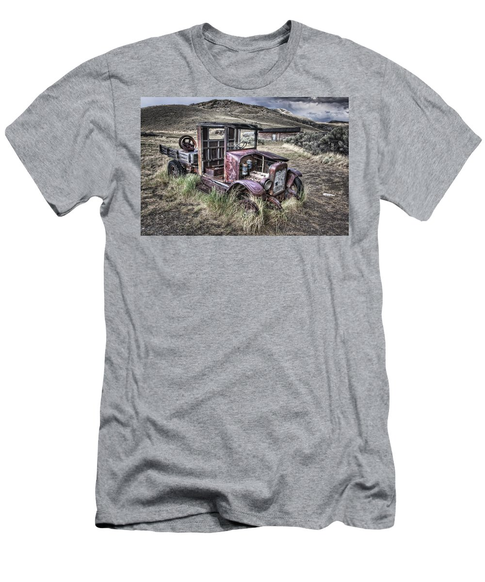 Ford Men's T-Shirt (Athletic Fit) featuring the photograph Bannack Ghost Town Truck - Montana by Daniel Hagerman