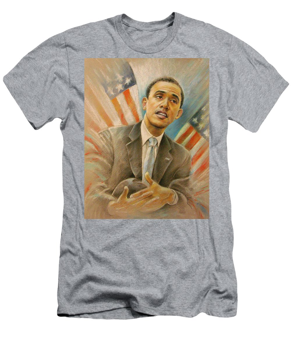 Barack Obama Portrait Men's T-Shirt (Athletic Fit) featuring the painting Barack Obama Taking It Easy by Miki De Goodaboom