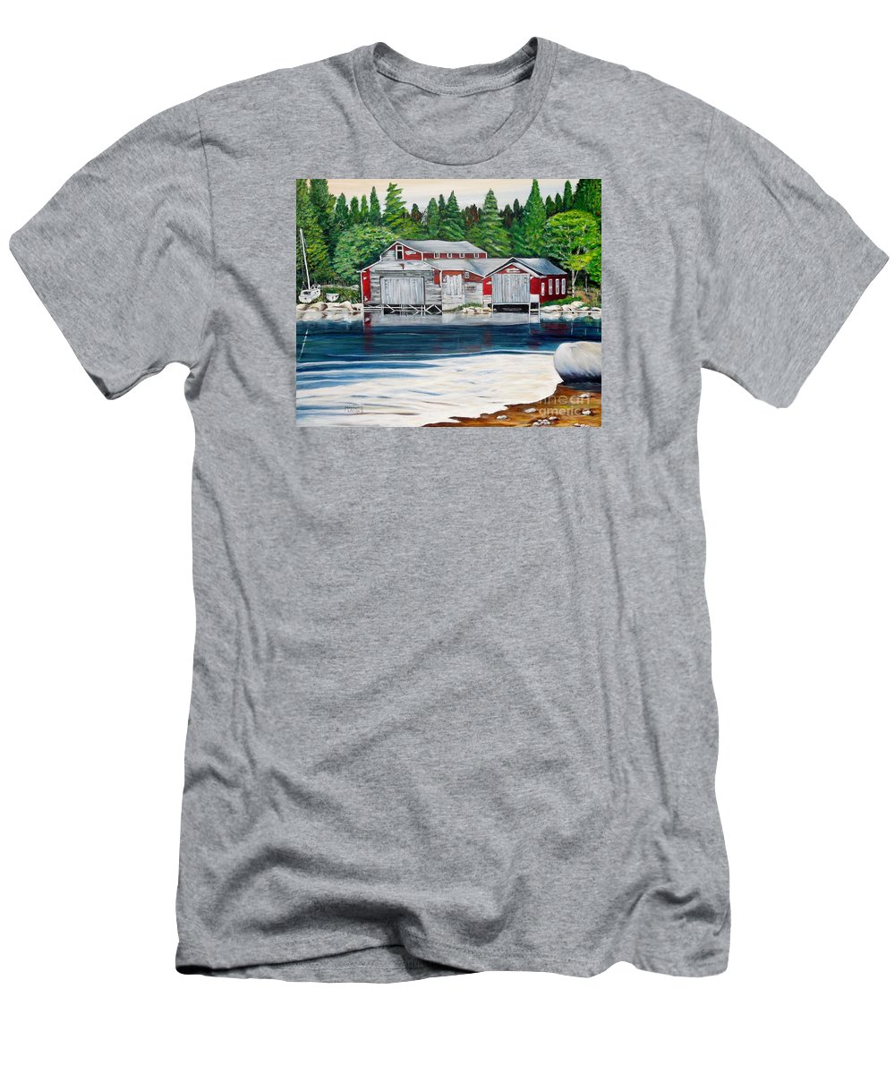 Barkhouse Men's T-Shirt (Athletic Fit) featuring the painting Barkhouse Boatshed by Marilyn McNish