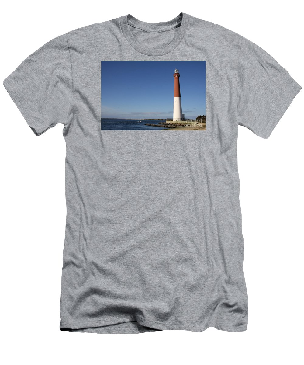 Barnegat Lighthouse Men's T-Shirt (Athletic Fit) featuring the photograph Barnegat Inlet And Light by Christiane Schulze Art And Photography