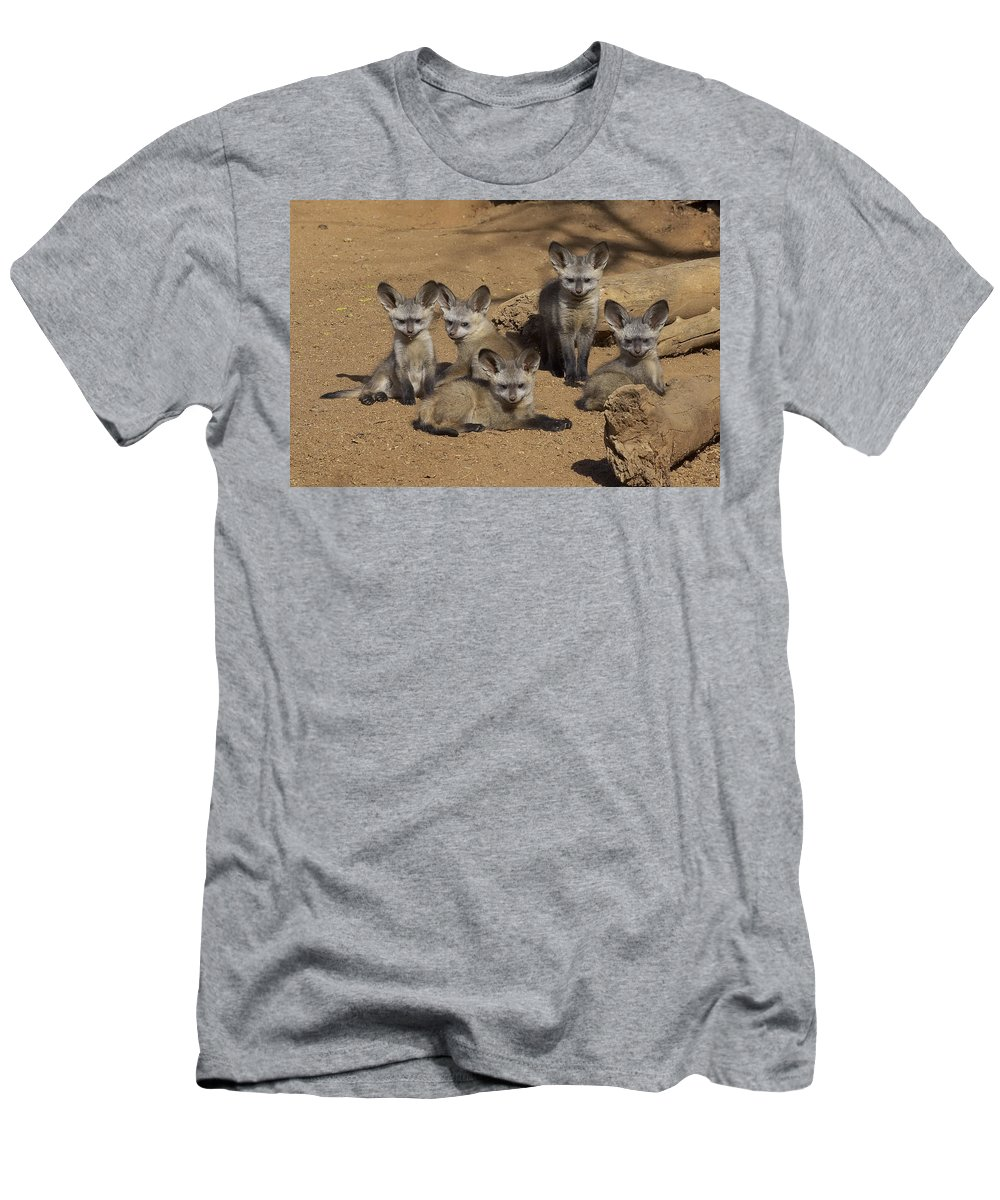 Feb0514 Men's T-Shirt (Athletic Fit) featuring the photograph Bat-eared Fox Pups by San Diego Zoo