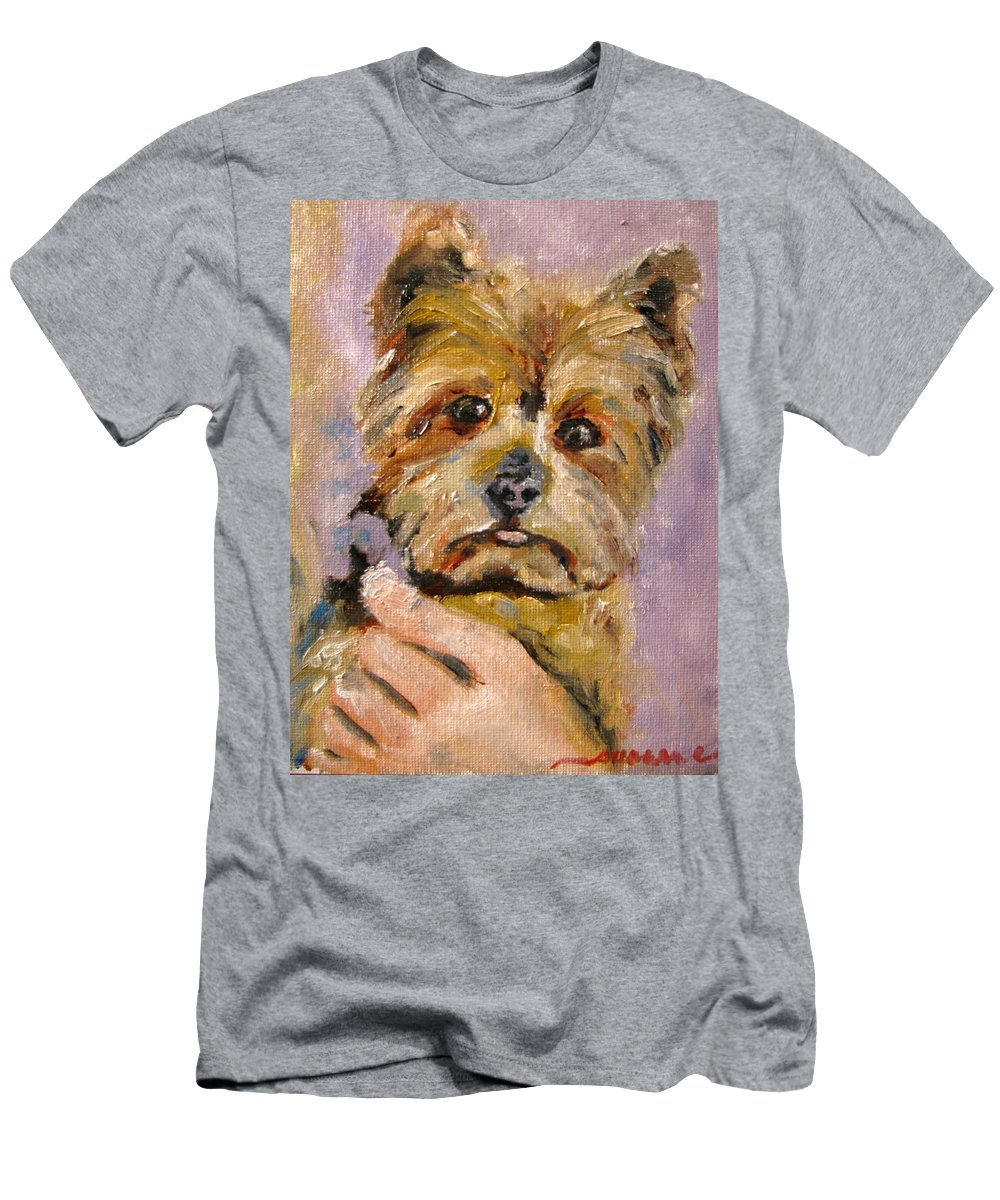 Yorkie Men's T-Shirt (Athletic Fit) featuring the painting Baxter Baron On Brandon Hall by Susan Elizabeth Jones