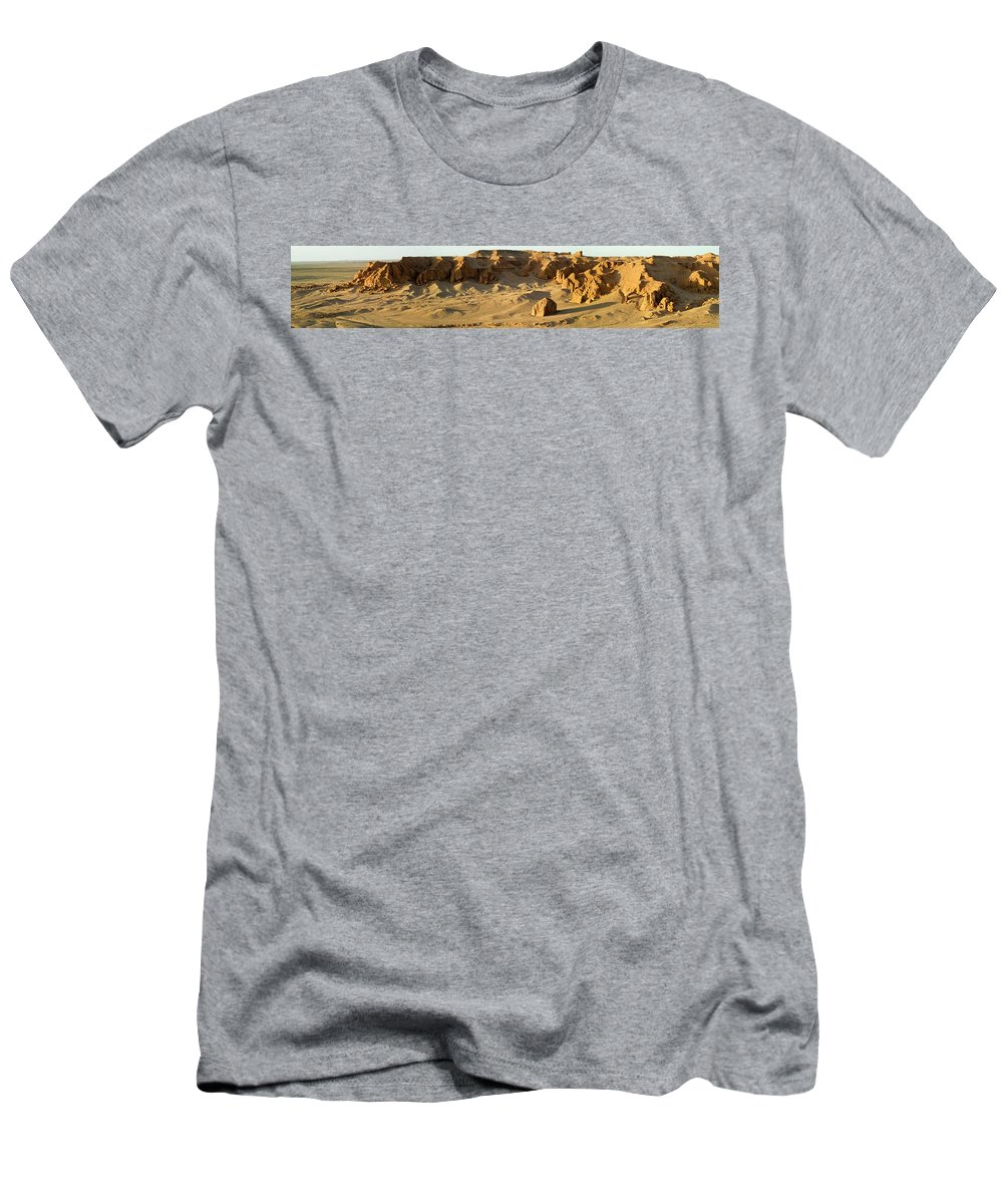 Bayanzag Men's T-Shirt (Athletic Fit) featuring the photograph Bayanzag, Or Flaming Cliffs, Of Gobi by Ted Wood