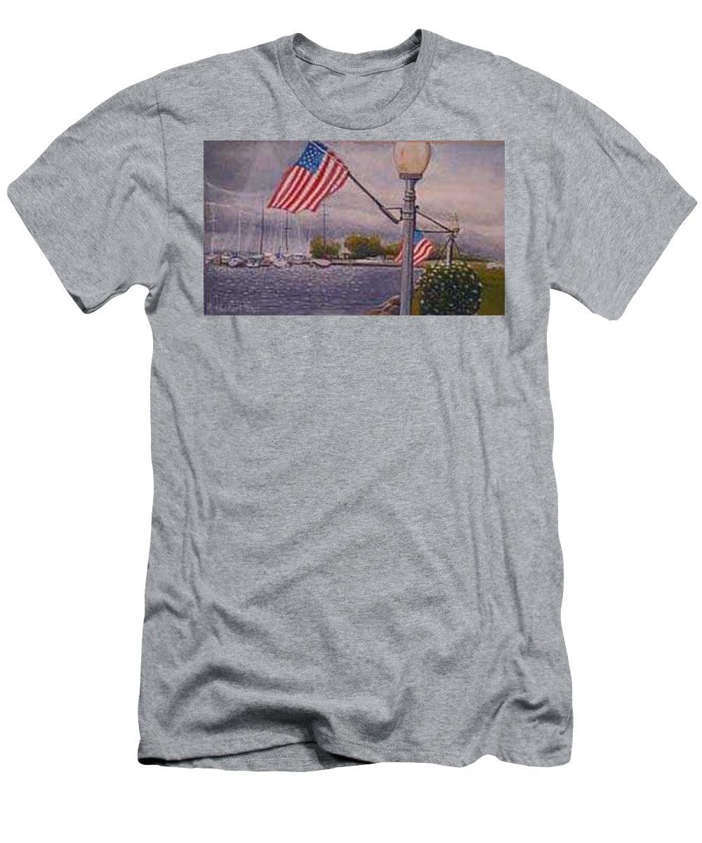 Rick Huotari Men's T-Shirt (Athletic Fit) featuring the painting Bayfield On The 4th by Rick Huotari