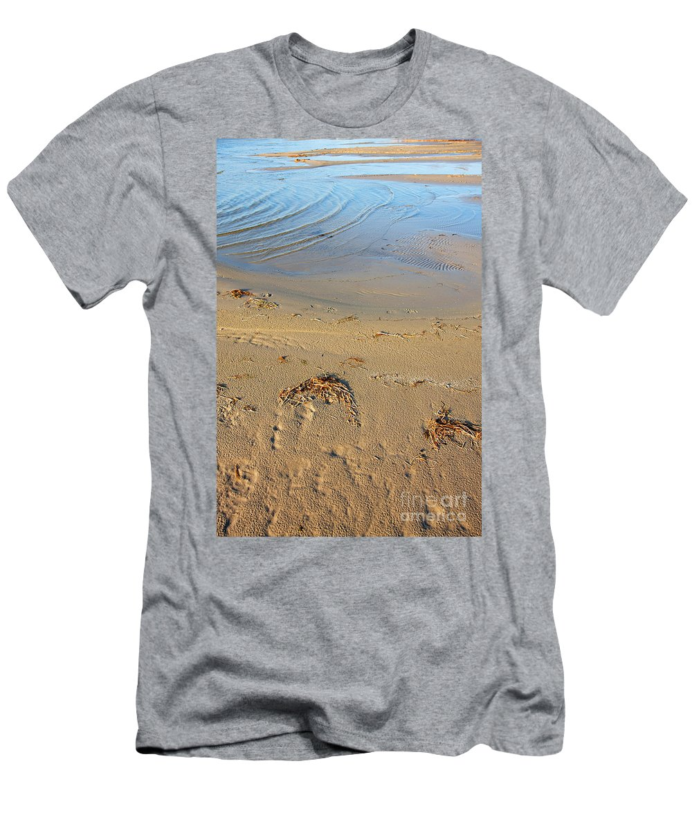 Abstract Men's T-Shirt (Athletic Fit) featuring the photograph Beach And Rippled Water. by Jan Brons