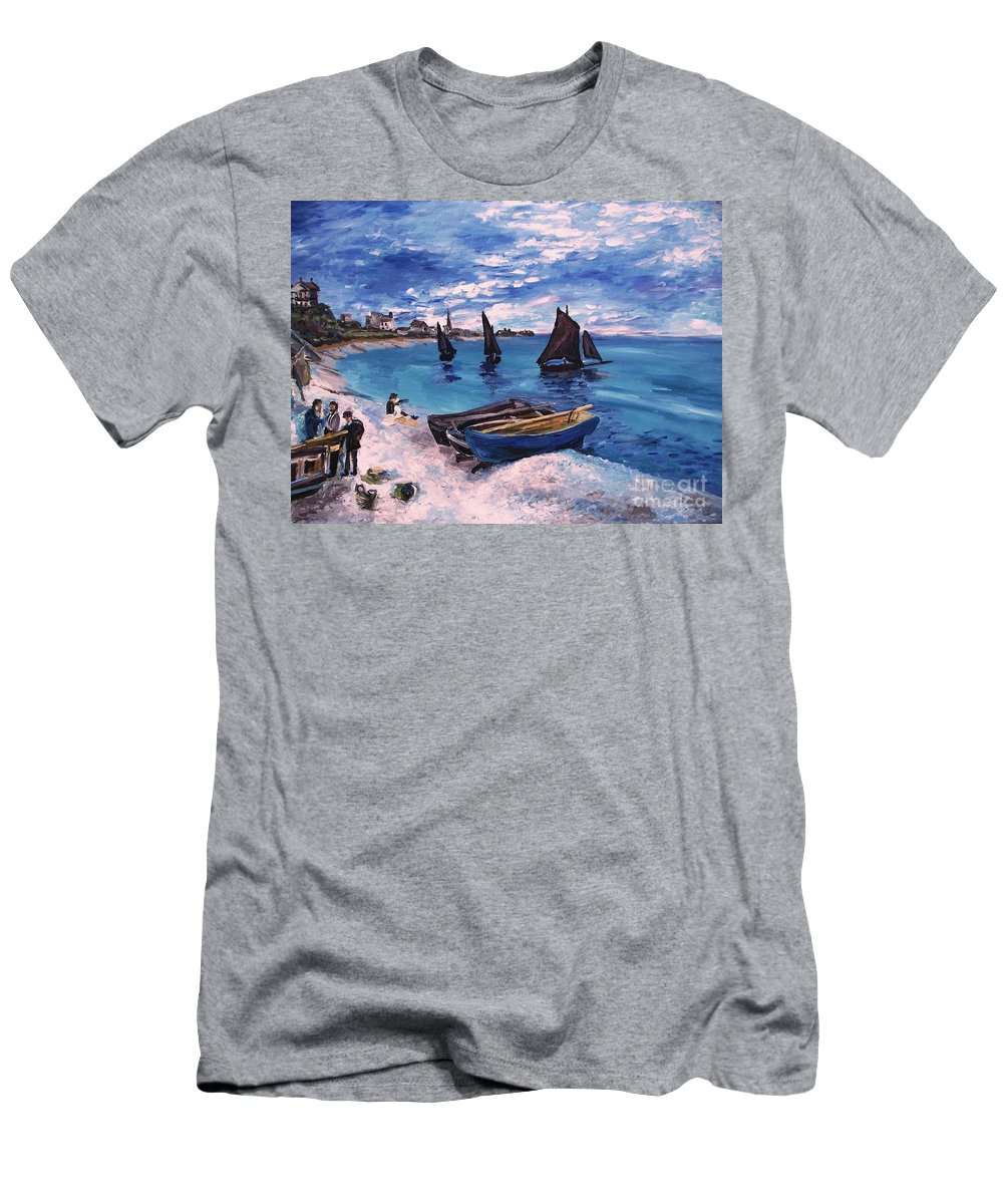 Monet Men's T-Shirt (Athletic Fit) featuring the painting Beach At Sainte Adresse Monet by Eric Schiabor