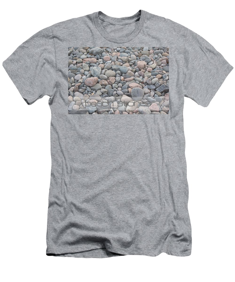 Beach Rocks Men's T-Shirt (Athletic Fit) featuring the photograph Beach Stones by Susan Garver
