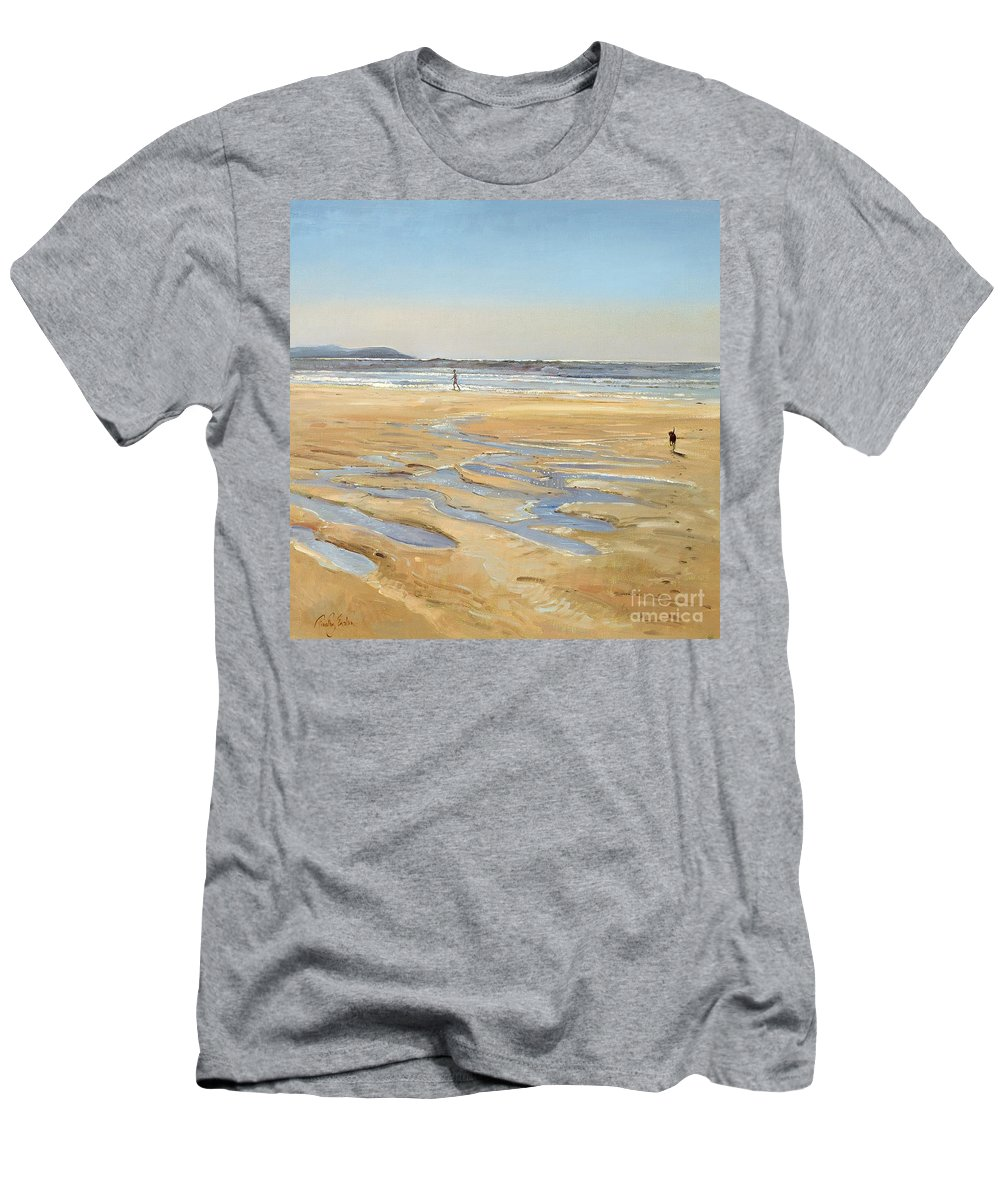 20th; Stroller; Strolling; Walking Along Sand; Water Pools; Sea; Seaside; Holiday; Summer Men's T-Shirt (Athletic Fit) featuring the painting Beach Strollers by Timothy Easton