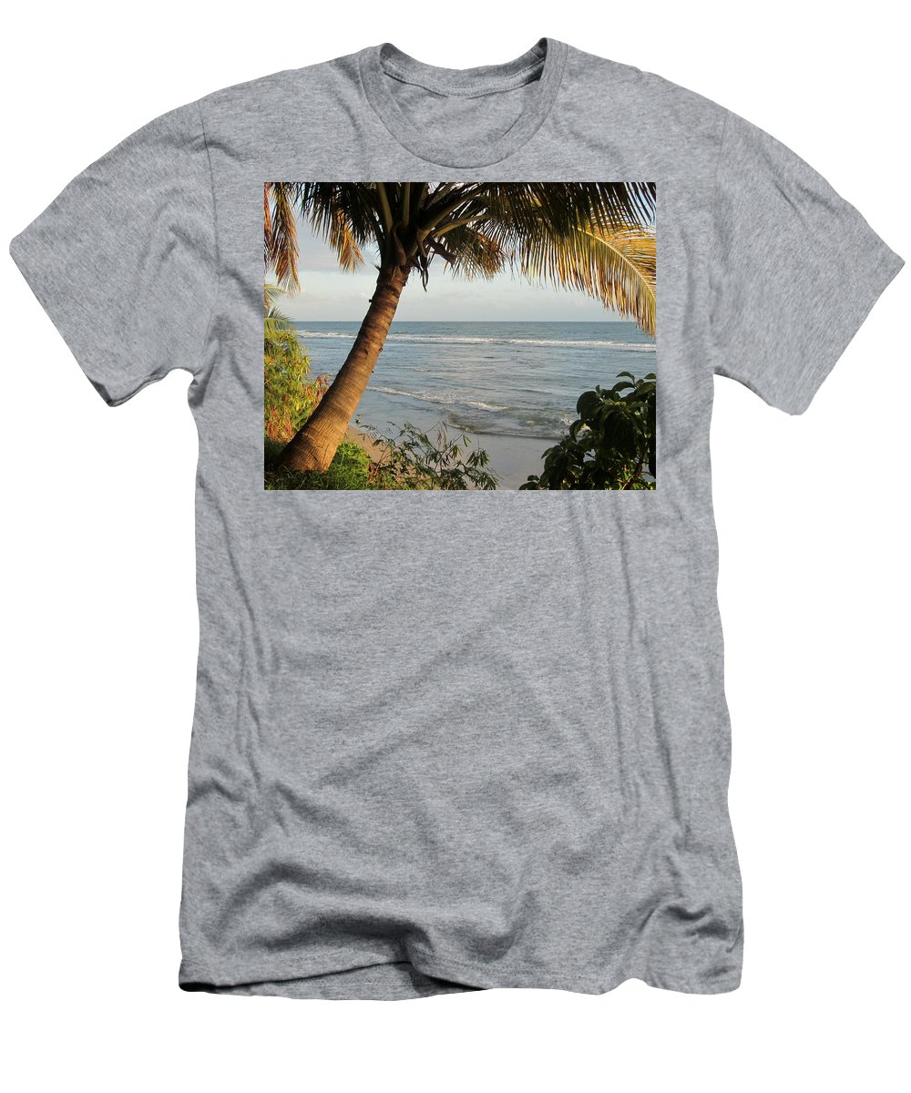 Beach Men's T-Shirt (Athletic Fit) featuring the photograph Beach Under The Palm 1 by Anita Burgermeister