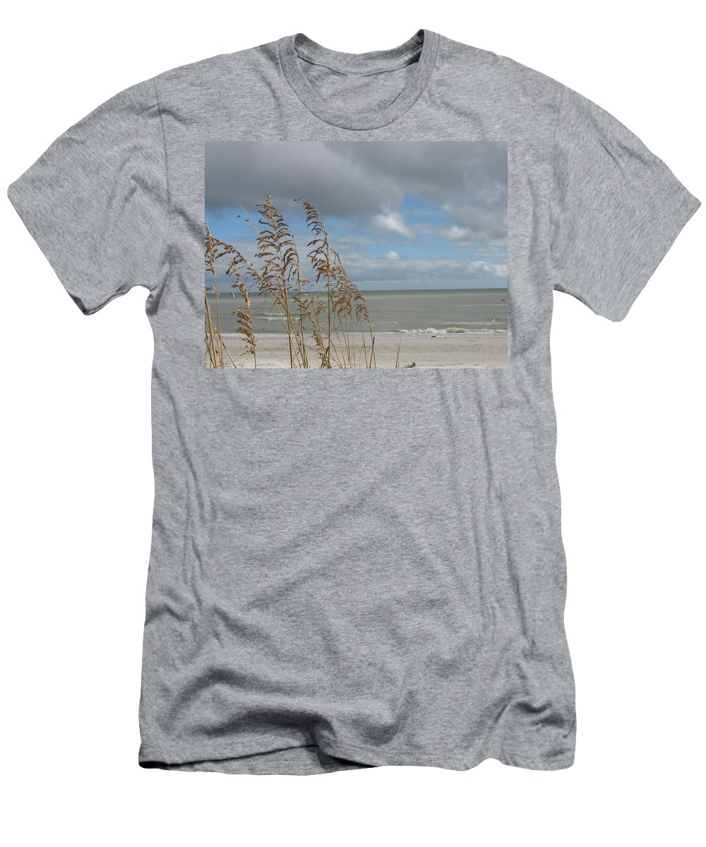 Beach Men's T-Shirt (Athletic Fit) featuring the photograph Beachview With Seaoat by Christiane Schulze Art And Photography