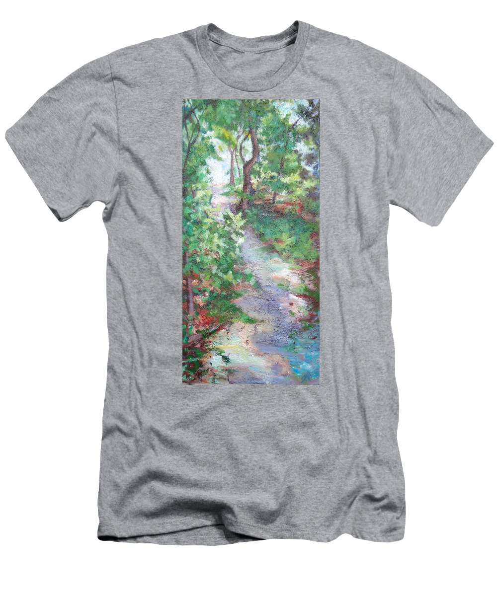 Forest Path Men's T-Shirt (Athletic Fit) featuring the painting Beautiful Hike by Sheila Holland