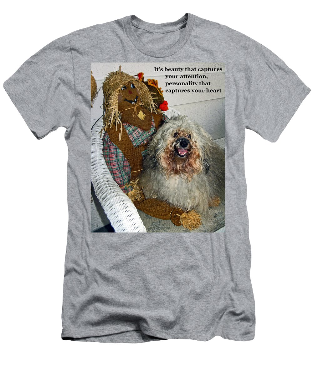 Havanese Dog Men's T-Shirt (Athletic Fit) featuring the photograph Beauty And Personality by Sally Weigand