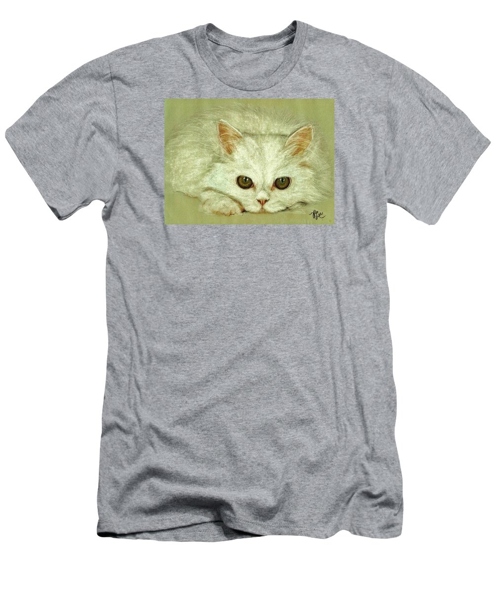 Cat Men's T-Shirt (Athletic Fit) featuring the drawing Beguiling Eyes by VLee Watson