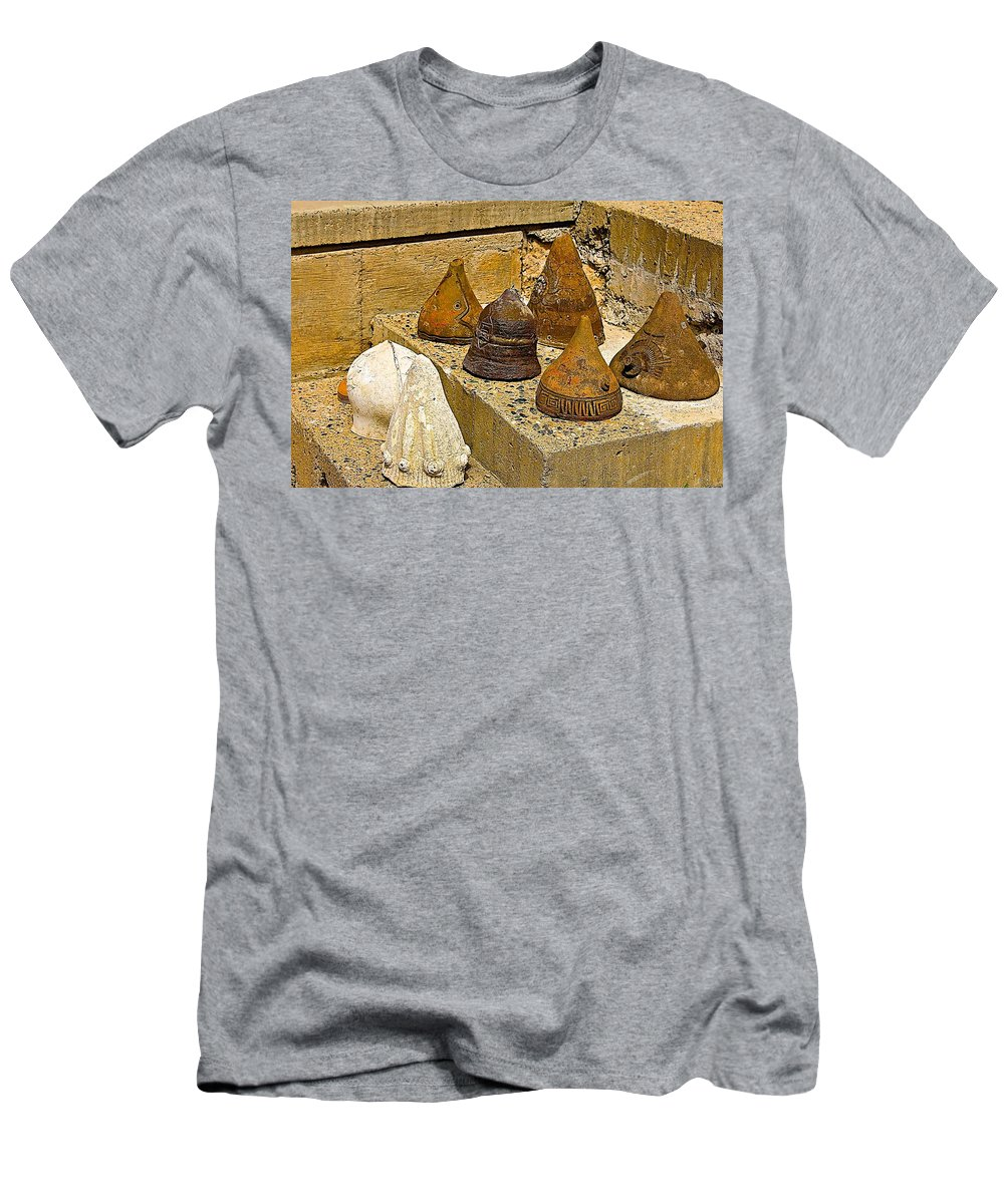 Arcosanti Men's T-Shirt (Athletic Fit) featuring the photograph Bell Forms by Barbara Zahno