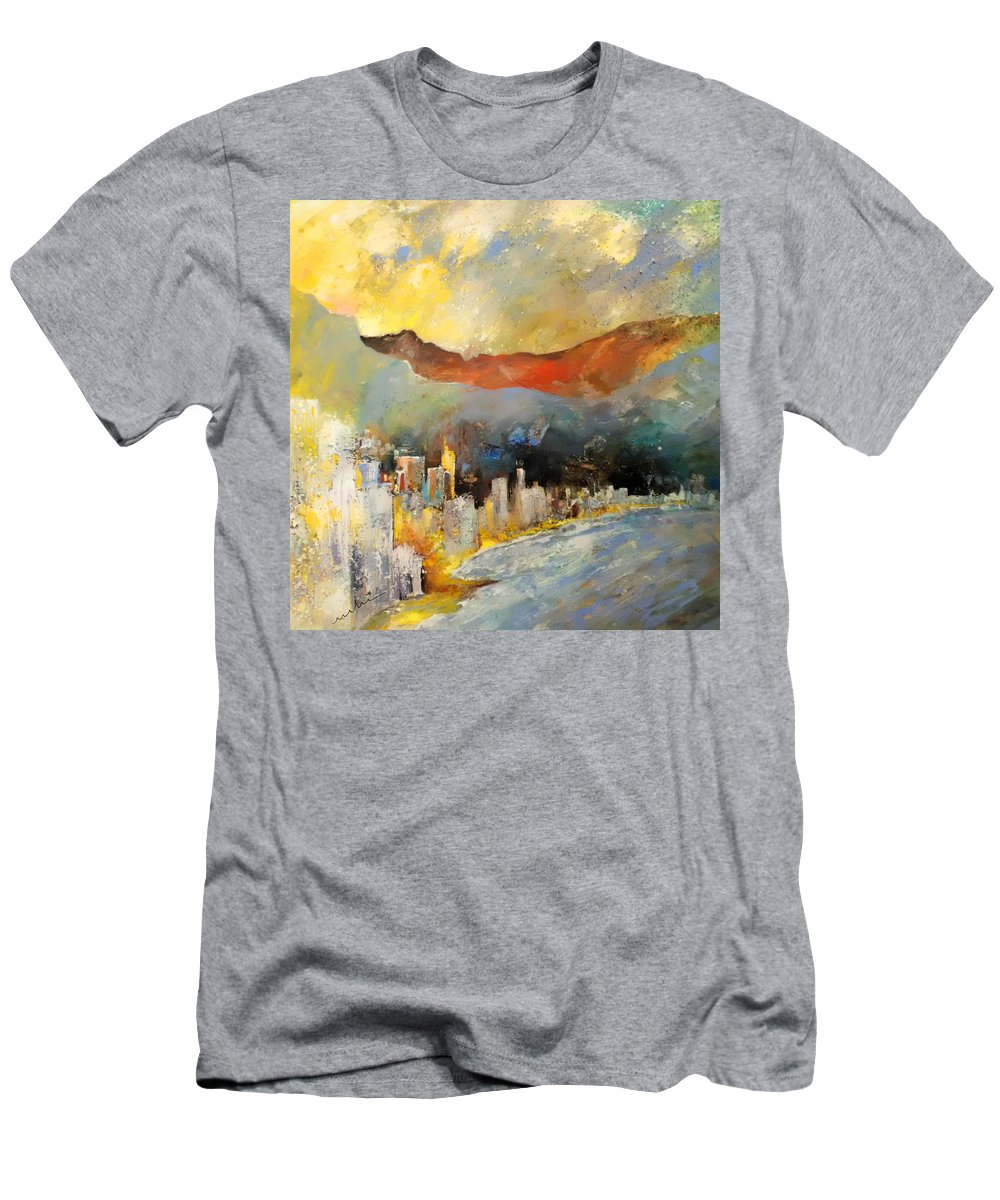 Landscapes Men's T-Shirt (Athletic Fit) featuring the painting Benidorm 01 by Miki De Goodaboom