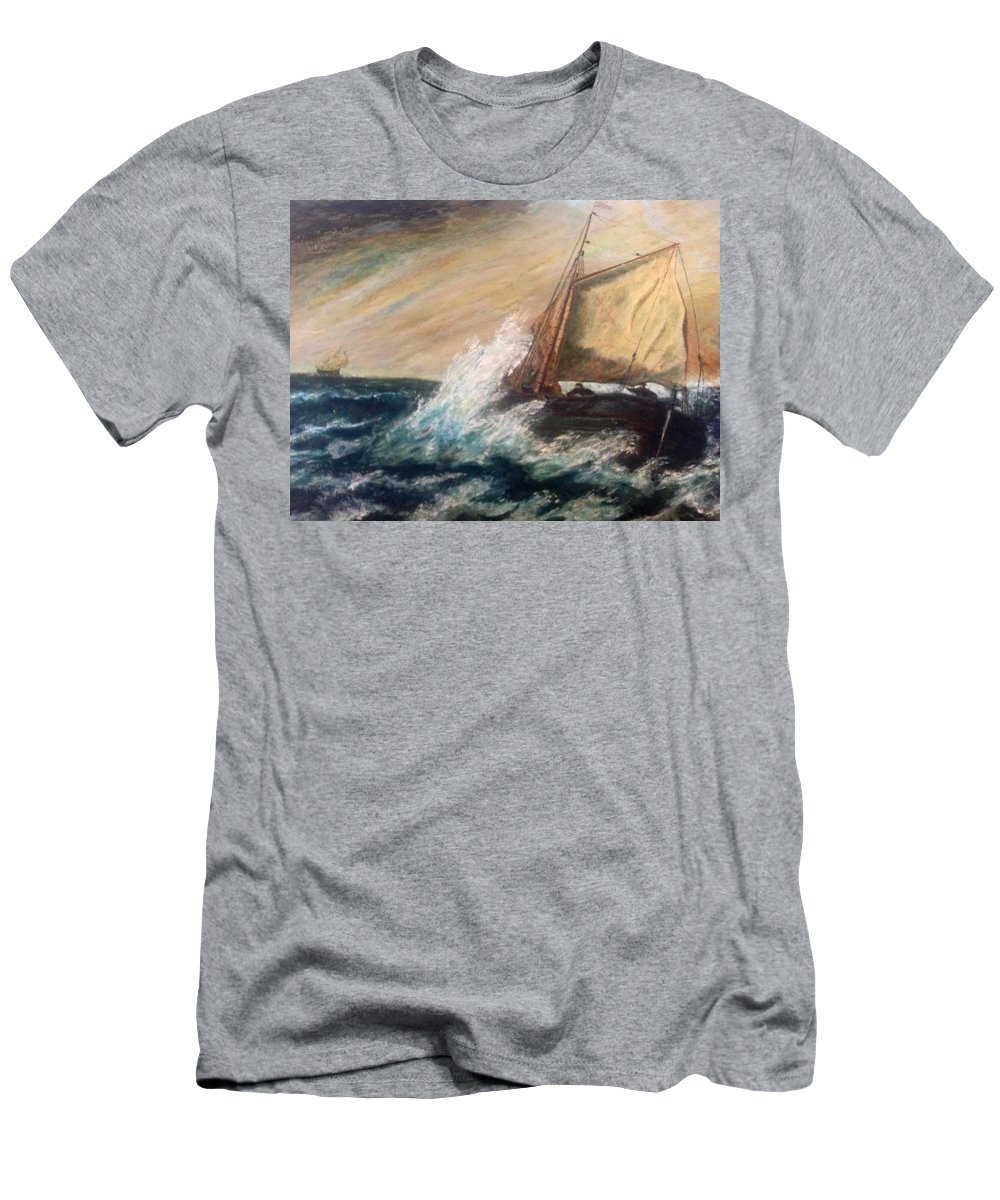 Boat Men's T-Shirt (Athletic Fit) featuring the painting Berts Boat by Judith Desrosiers