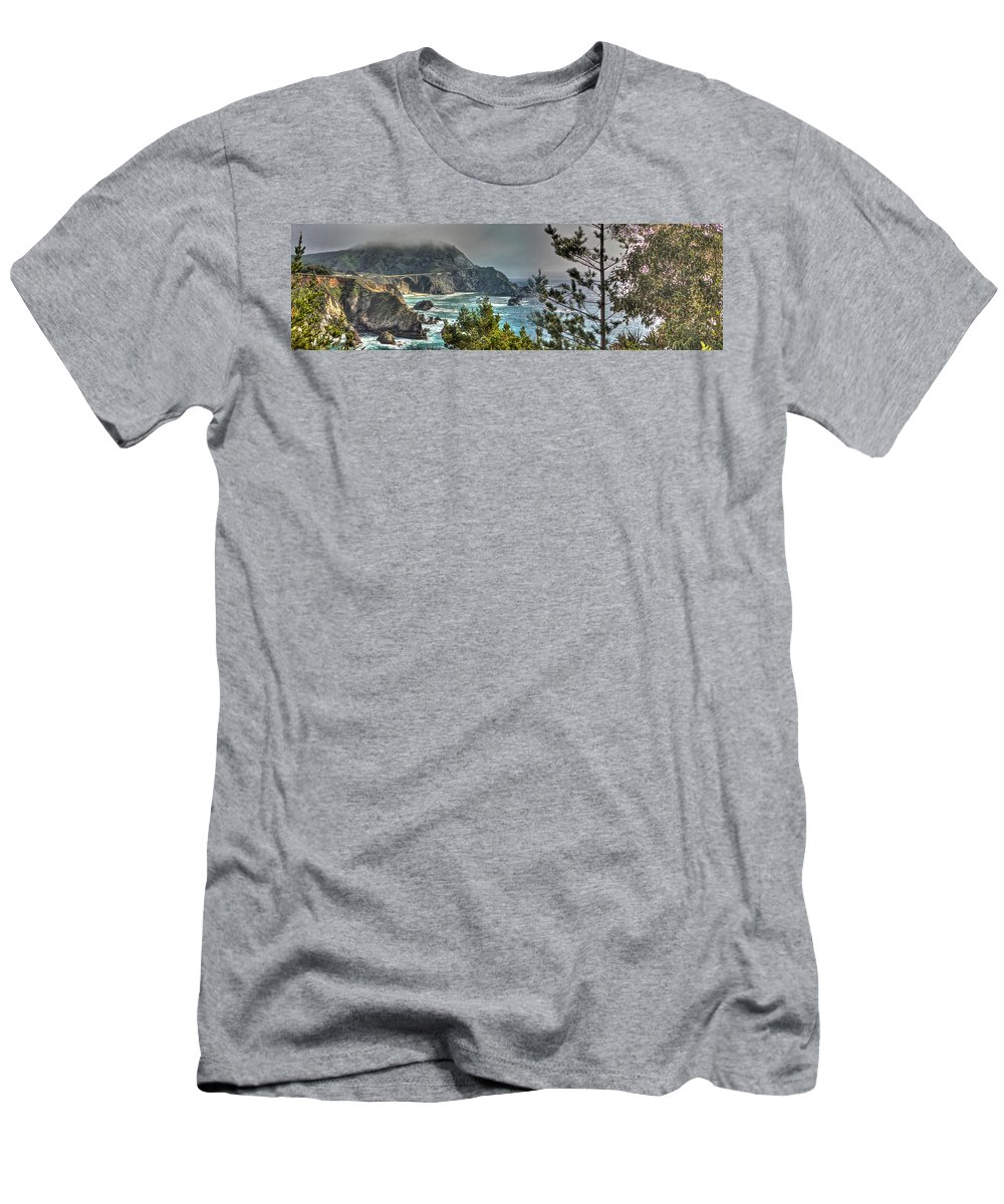 Beach Men's T-Shirt (Athletic Fit) featuring the photograph Big Sur Coast And Bixby Bridge Pano by SC Heffner