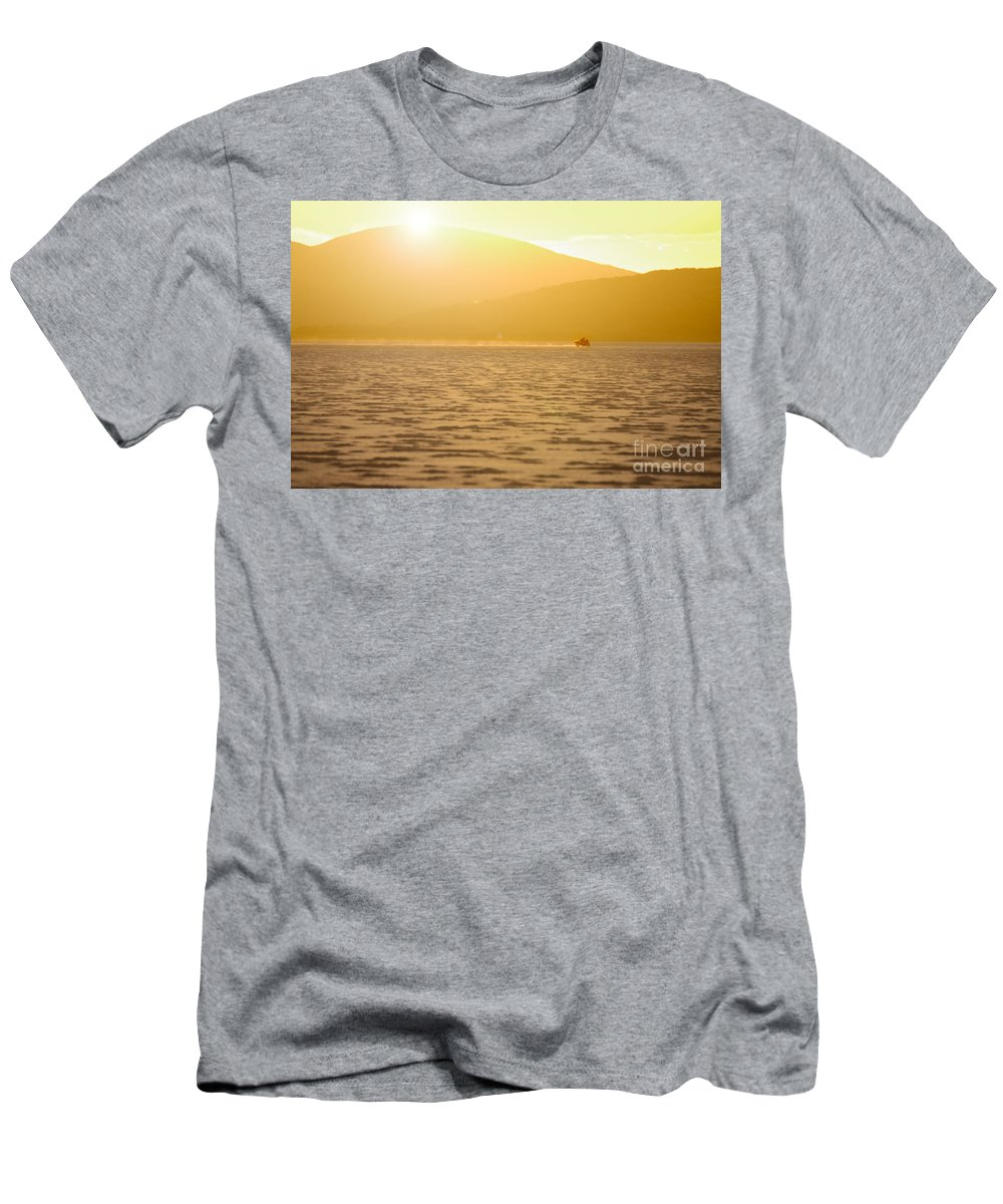 Motorcycle Men's T-Shirt (Athletic Fit) featuring the photograph Bike On The Salt by Frank Kletschkus