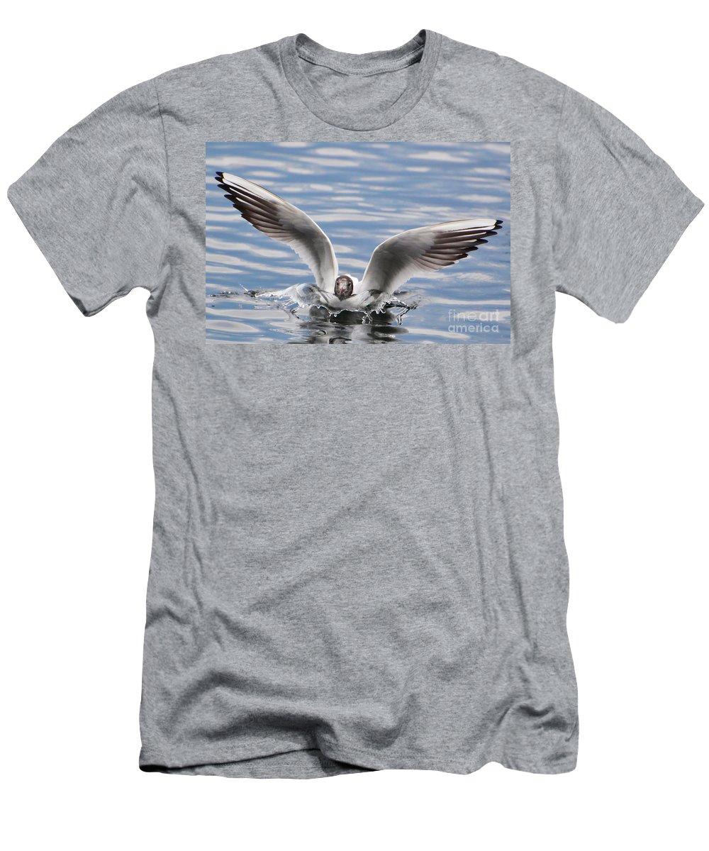 Bird Men's T-Shirt (Athletic Fit) featuring the photograph Bird Landing by Mats Silvan