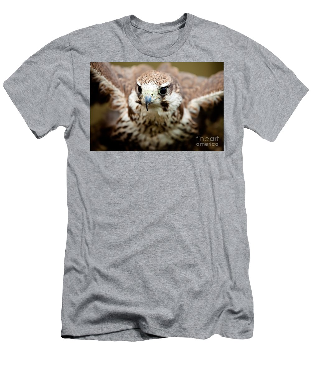 Bird Men's T-Shirt (Athletic Fit) featuring the photograph Bird Of Prey Flying by Simon Bratt Photography LRPS
