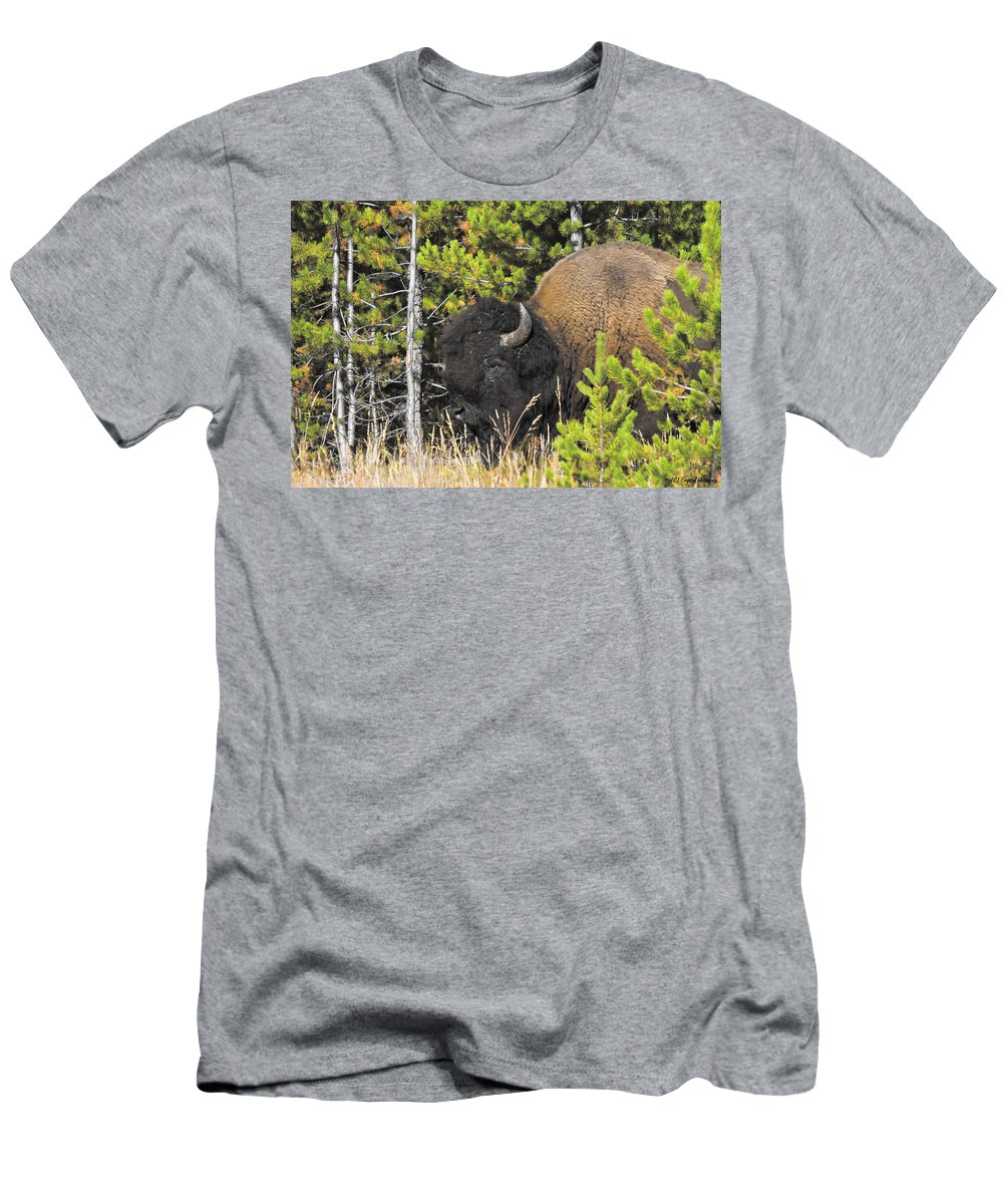 Bison Men's T-Shirt (Athletic Fit) featuring the photograph Bison's Portrait by Crystal Heitzman Renskers