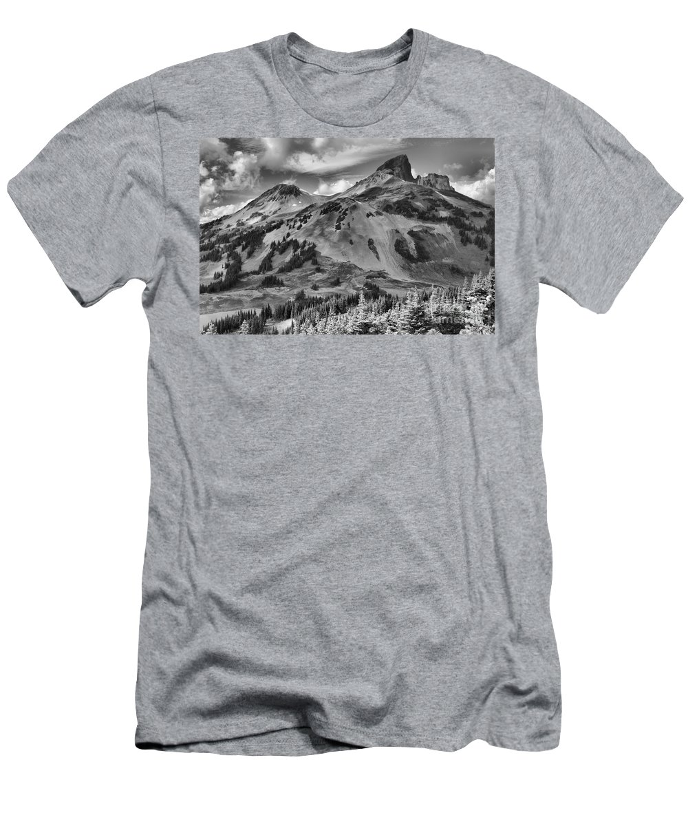Black And White Men's T-Shirt (Athletic Fit) featuring the photograph Black And White Garibaldi Black Tusk by Adam Jewell