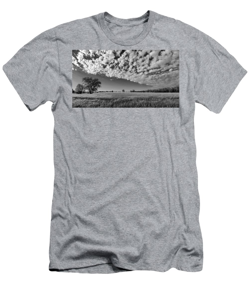 Black And White Men's T-Shirt (Athletic Fit) featuring the photograph Black And White Wheat Field by Eric Benjamin