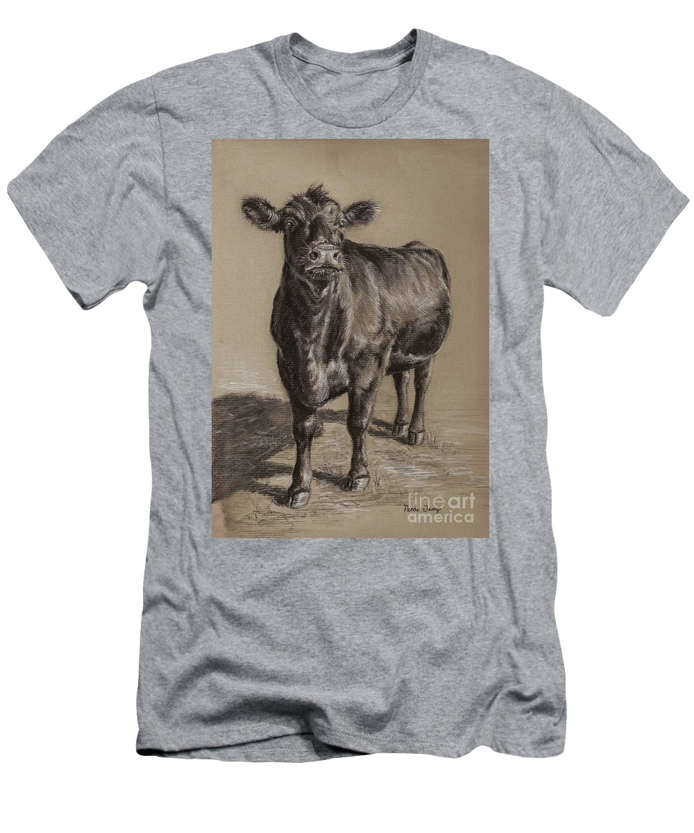 Cow Men's T-Shirt (Athletic Fit) featuring the drawing Black Angus Cow 1 by Nicole Troup