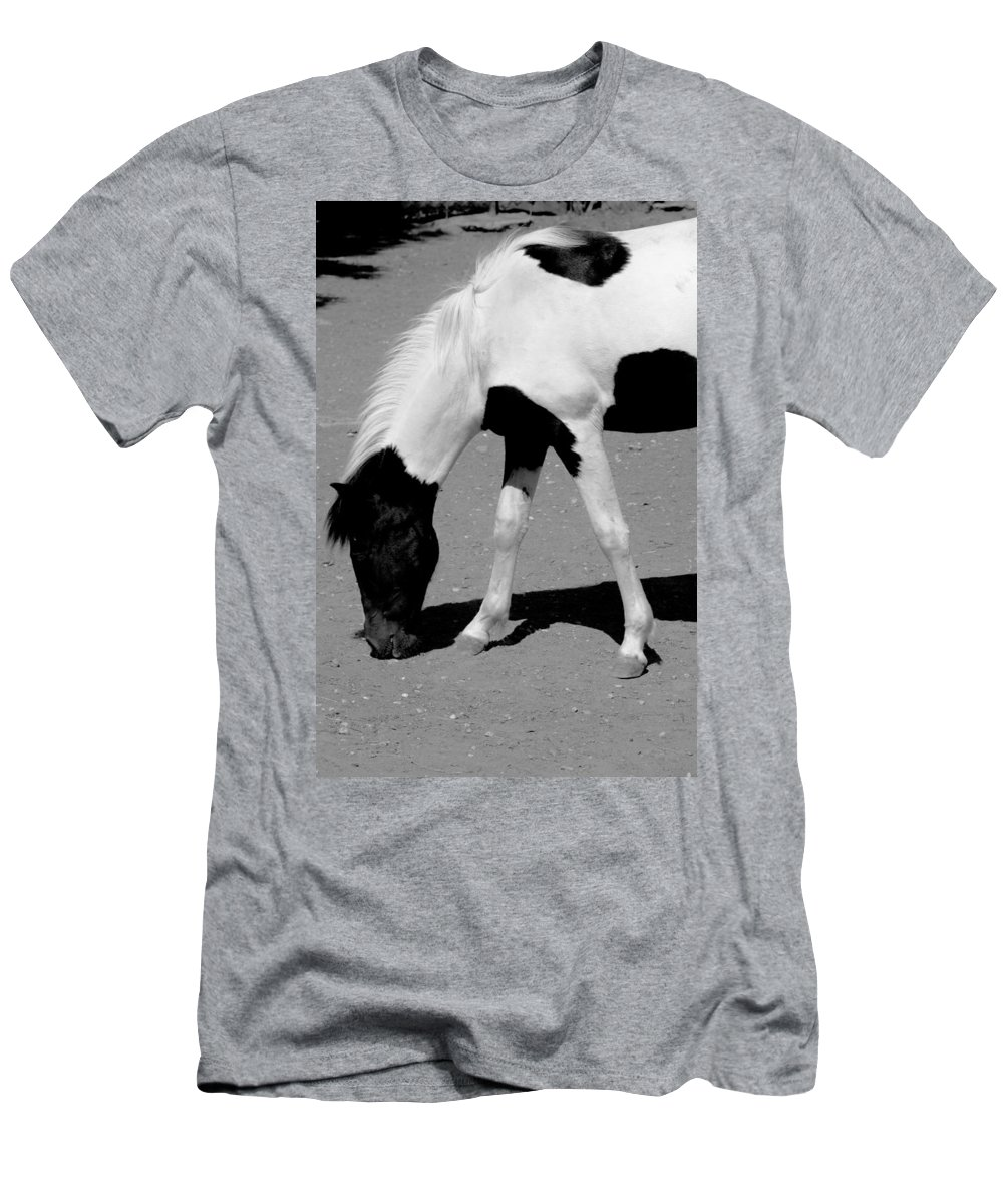 Sotiris Filippou Men's T-Shirt (Athletic Fit) featuring the photograph Black N White Horse by Sotiris Filippou