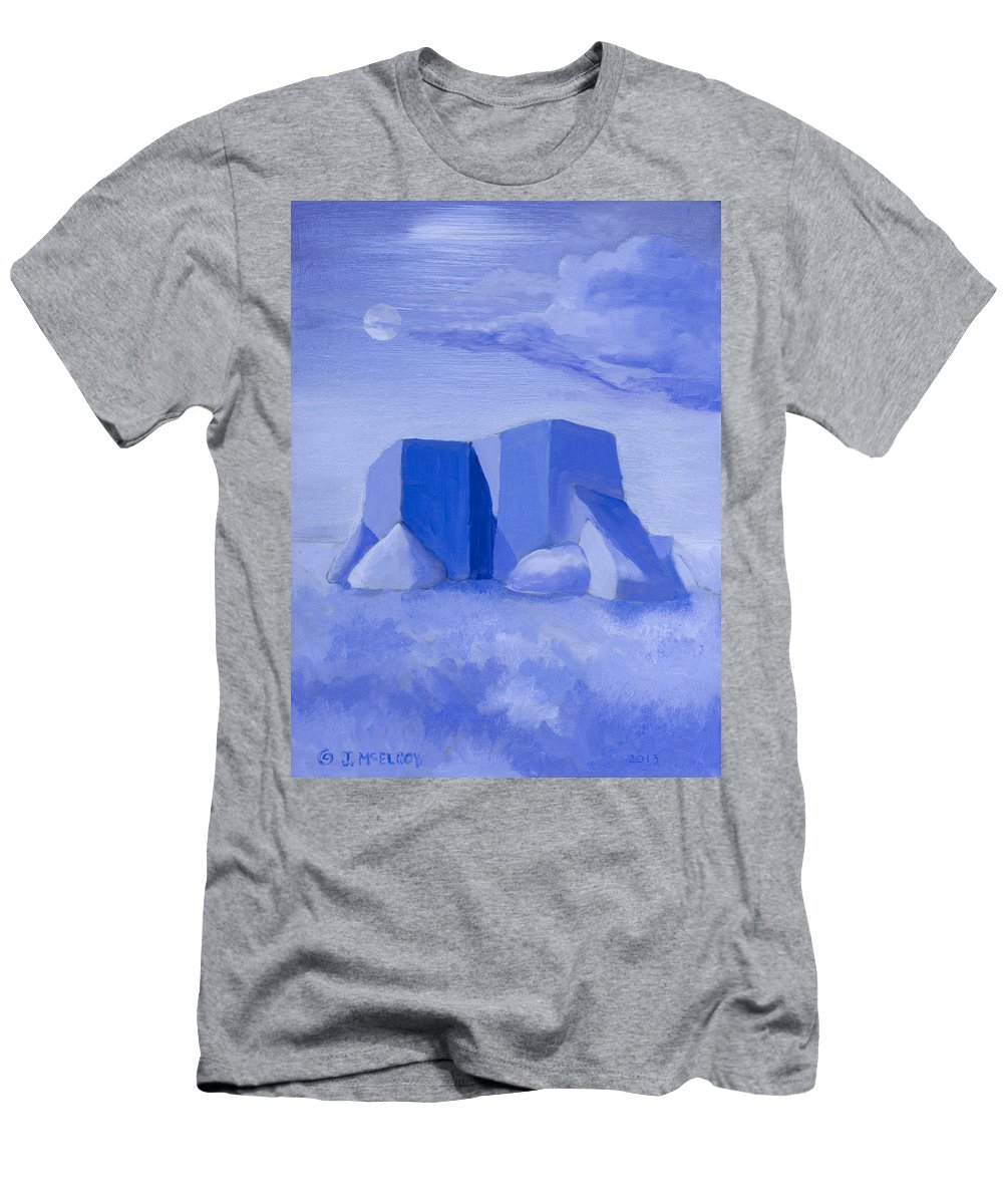 Blue Men's T-Shirt (Athletic Fit) featuring the painting Blue Adobe by Jerry McElroy