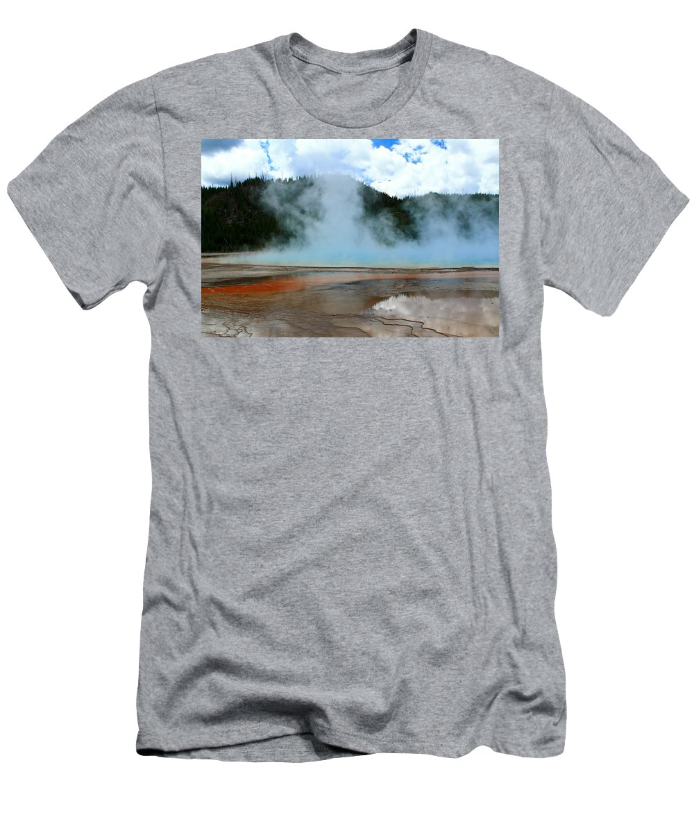 Yellowstone National Park Men's T-Shirt (Athletic Fit) featuring the photograph Blue And Steamy by Catie Canetti