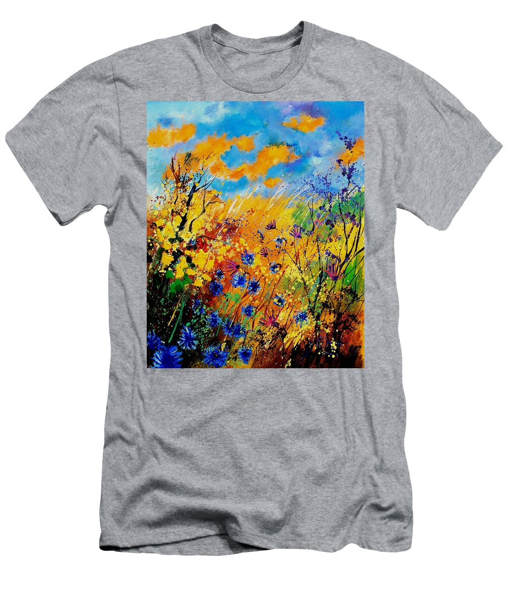 Poppies Men's T-Shirt (Athletic Fit) featuring the painting Blue Cornflowers 450408 by Pol Ledent