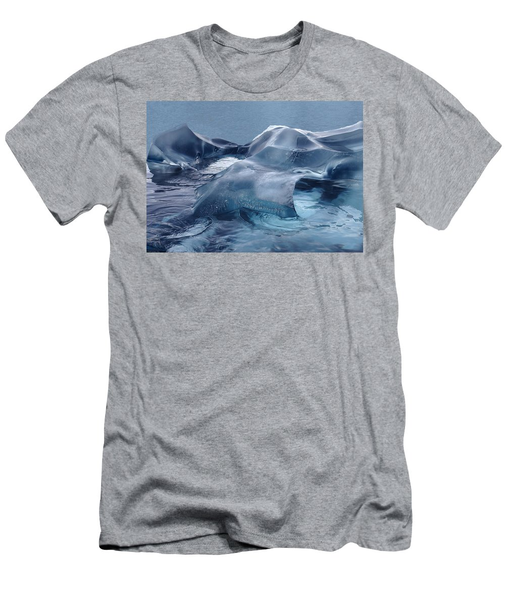 Sculpture Men's T-Shirt (Athletic Fit) featuring the photograph Blue Ice Sculpture by Ginny Barklow