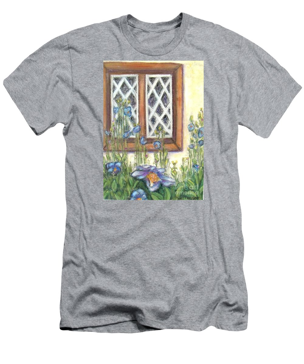 Pastel T-Shirt featuring the painting Blue Poppies of Luss by Laurie Morgan