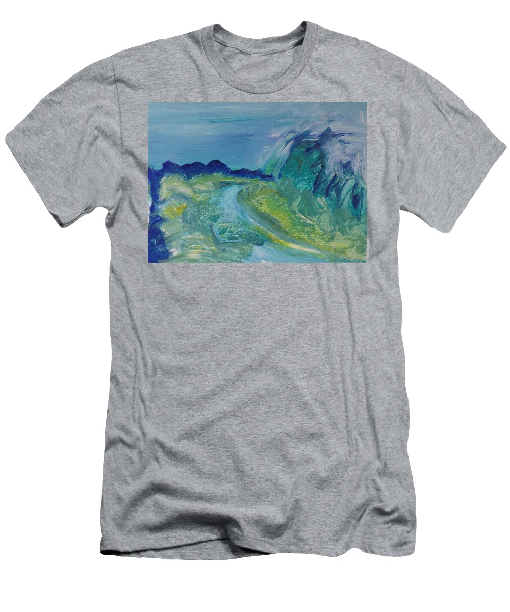 Abstract Men's T-Shirt (Athletic Fit) featuring the photograph Blue River Landscape I, 1988 Oil On Canvas by Brenda Brin Booker